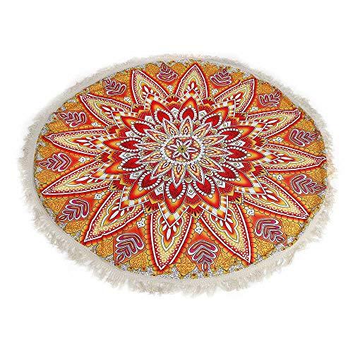 Kreative runde komfort yoga matte farbe muster drucken strand towel polyester fransen print mode strand matte 150 cm (Gelb)