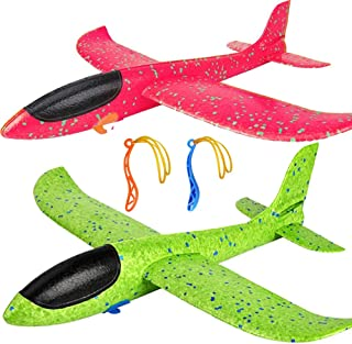 """2 Pack Airplane Toys, Upgrade 17.5"""" Large Throwing Foam Plane, 2 Flight Mode Glider Plane, Flying Toy for Kids, Gifts for ..."""