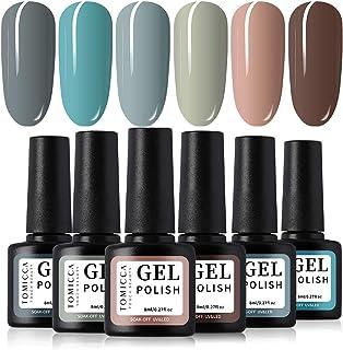 TOMICCA Gel Nail Polish Set 6 Colour Collection, Shiny or Matte effect Soak Off UV LED (F)