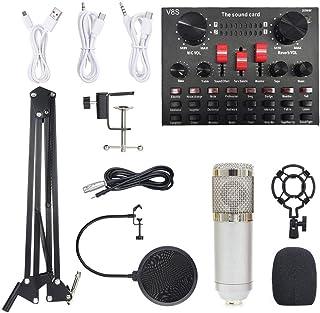 مجموعة ميكروفون بمعدات تسجيل الصوت بي ام 800 متعددة الوظائف (فضية)