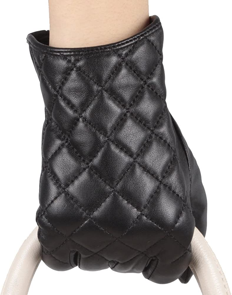 Mandy's Women's Winter Genuine Leather Plush Lining Driving Gloves Touch Screen