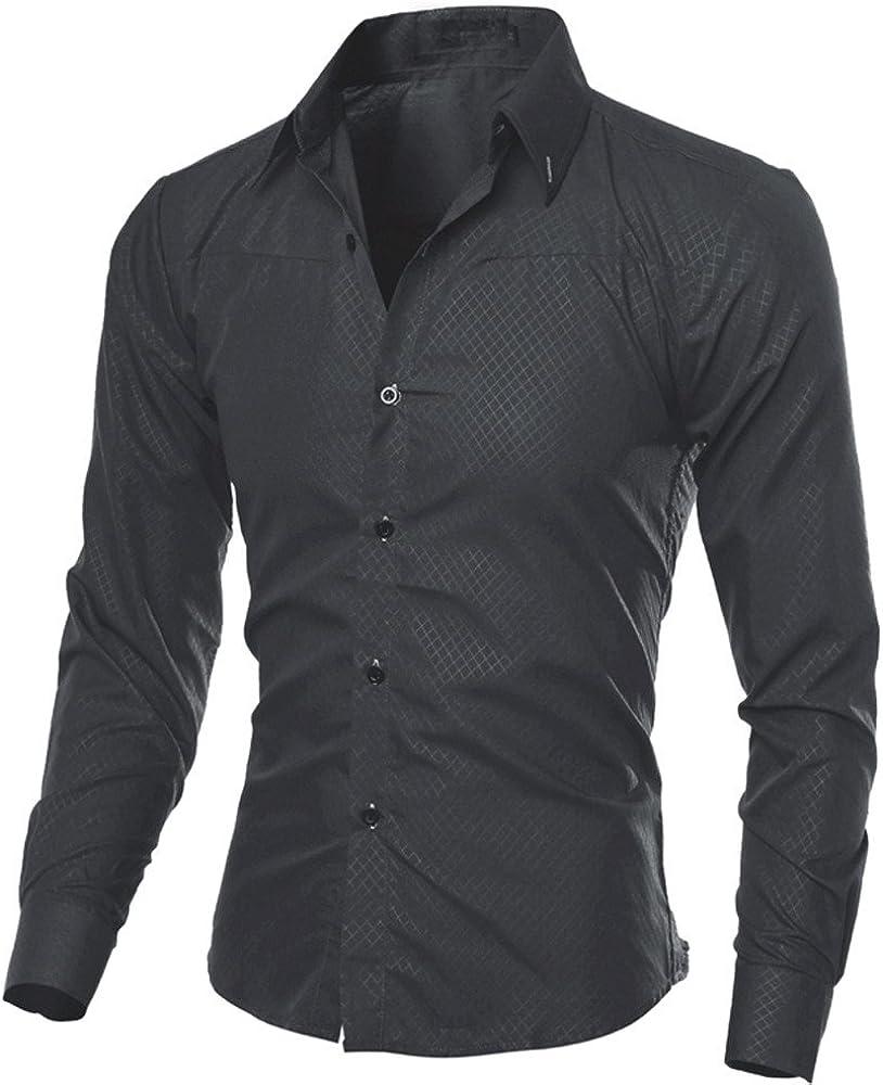 VEKDONE Men's Casual Slim Fit Business Dress Shirts Regular Fit Long Sleeve Button Down Office Work Formal Shirt