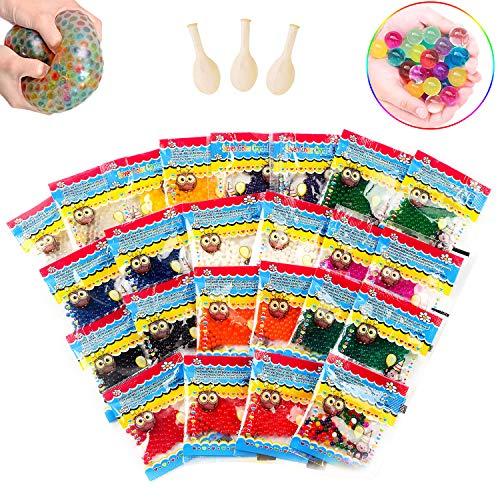 Perlas de agua, Bolas gel 24 Pack, Bolas hidrogel Multicolor, Water beads, Perlas bolas hidrogel, Bolas de biogel para decor, Plantas, Flores, El llenador del Florero(3 Globos Adicionales Incluidos)