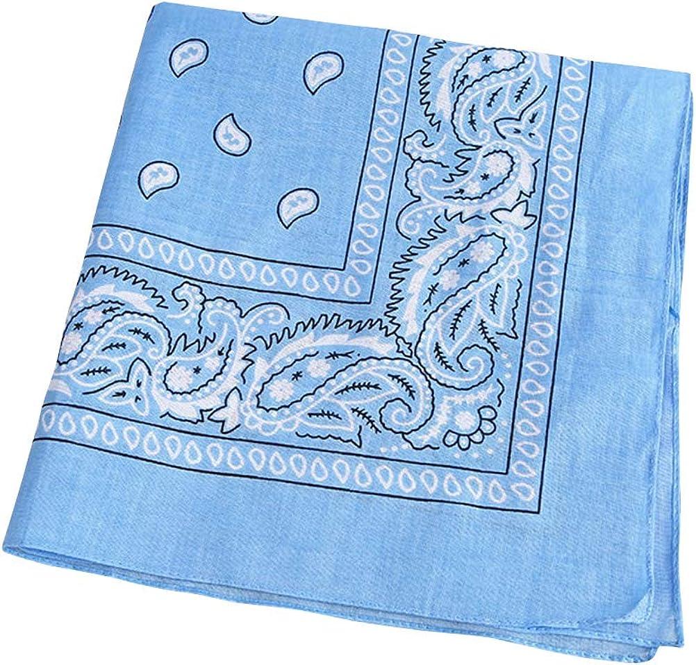 TENDYCOCO Multipurpose Bandana Printed Cotton Headband Sweat-absorbing Handkerchiefs (Sky-blue)