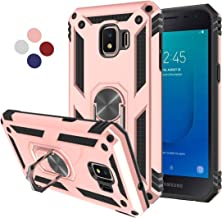 Compatible for Galaxy J2 Core Case,Galaxy J2 Dash Phone Case,J2 Pure,J260 Cover,LDStars Heavy Duty Soft TPU Hard PC Protective Case with 360° Rotating Ring Kickstand for Magnetic Car Mount-Rose Gold