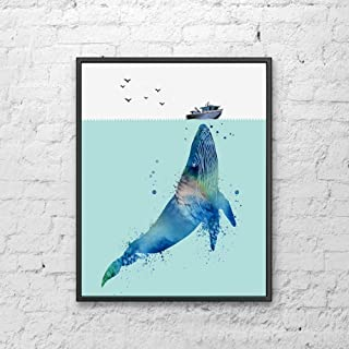 Watercolor Whale Art Print Great Gift for Nursery Bedroom Ocean Life Painting Animal Kids Bedroom Humpback Whale Below Boat Gift 8x10 inch Unframed