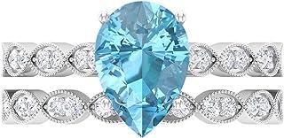 Anillo solitario de corte pera, 7 x 10 mm, anillo de eternidad de Moissanita D-VSSI, conjunto de anillos de boda de oro bl...