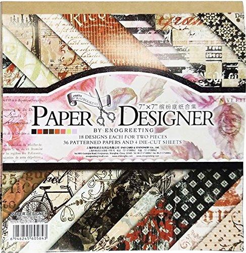 40 Blatt Scrapbooking Papier Gemustertes Karton Bastelpapier mit Vintage Design für DIY Handwerk Foto Hintergrund Deko 7x7 Zoll