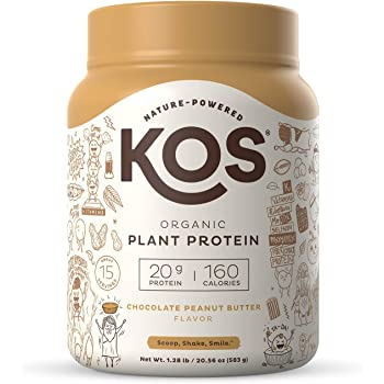 KOS Organic Plant Based Protein Powder, Chocolate Peanut Butter - Delicious Vegan Protein Powder - Gluten Free, Dairy Free & Soy Free - 1.3 Pounds, 15 Servings