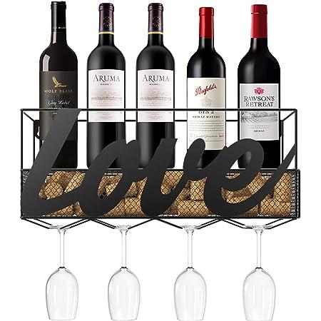 Wallniture Chiraz calici da vino in vetro rack montabile a parete in ferro battuto nero 27,9/cm set di 4