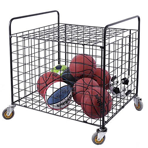 MyGift Black Metal Rolling Multi Sports Ball Storage Hopper & Basketball, Football, Soccer Equipment Cart