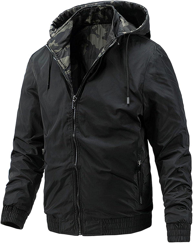 LEIYAN Mens Bomber Hooded Jackets Zip Up Heavyweight Long Sleeve Thermal Motorcycle Windbreaker Wear on Both Sides