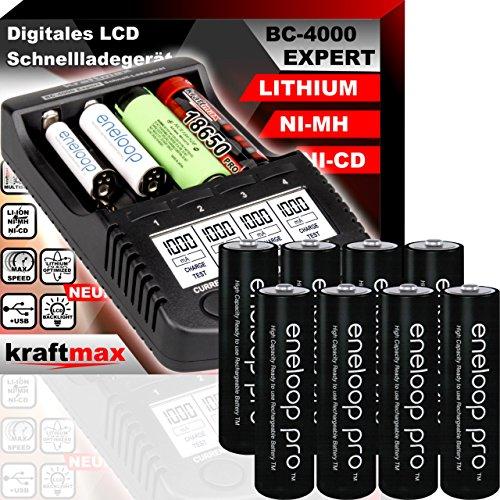 kraftmax Original BC-4000 EXPERT Ladegerät + 8 Panasonic Eneloop Pro Mignon AA Akkus - Set mit Ladestation und Akku Batterien Premium Akkubox