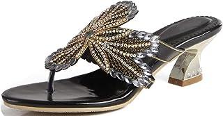 LizFoYa Sandalias de verano con correa en T para mujer, estilo casual, con cuentas, sandalias de tacón bajo