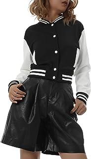 DELIMALI Women's Long Sleeves Varsity Baseball Jacket Button Down Casual Loose Jerseys Uniform Bomber Track Jacket