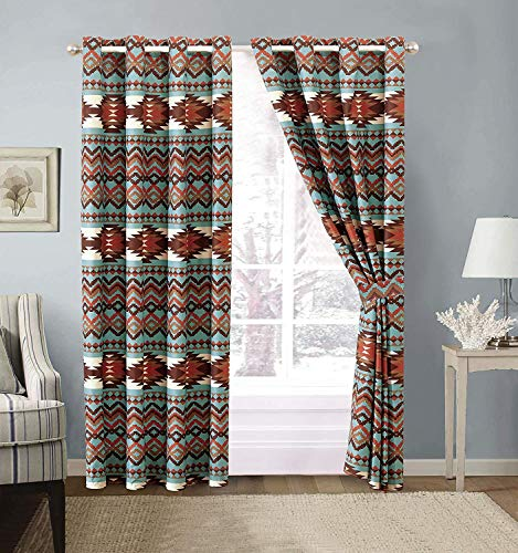 Southwestern Grommet Window Curtain Set with Native American Patterns and Rustic Colors of Brown Burnt Orange Rust and Turquoise (Utah Turquoise)