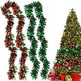 Guirnalda de Oropel,Guirnalda Metálico de Navidad,Oropel de Navidad Decoración,Cortina de Flecos,Decoración de Árbol de Oropel,para Decoraciones Navideñas en Interior y Exterior (Rojo verde)
