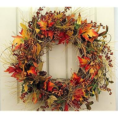 Fall Mountainside Autumn Door Wreath