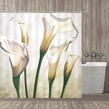 qianliansheji Flower Shower Curtain, Flourishing Calla Lilies on White Fresh Spring Bouquet Gentle Nature Theme, Fabric Bathroom Decor Set with Hooks, 70 inch, Green White Yellow