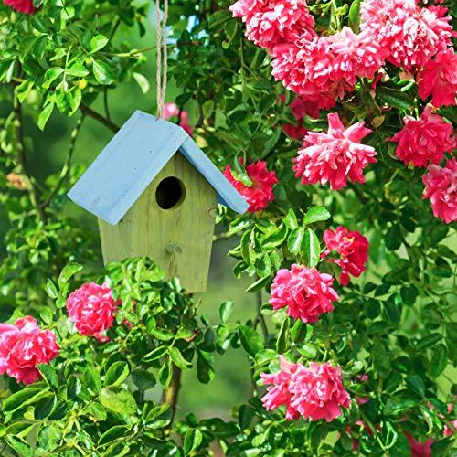 Relaxdays Deko Vogelhaus bunt, aus Holz, Kleines Vogelhäuschen, Frühlingsdeko zum Aufhängen, HBT: ca. 16 x 15 x 8 cm, grün - 3