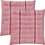 REDBEST Stuhlkissen, Sitzkissen, Sitzauflage 2er-Pack rot Größe 40x40x3 cm - strapazierstark, langlebig, angenehmer Sitzkomfort (weitere Farben)