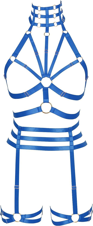 Lingerie cage Full body harness for women Plus size Halloween Gothic Chest strap Bra Festival Rave Punk Garter belt set