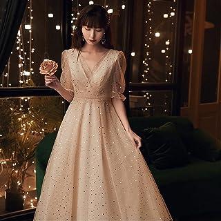 Fashion Banquet Elegant Bridesmaid Evening Dress Sequin Applique Mid-Length Prom Formal Dress