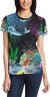 XiangHeFu T Shirt voor vrouwen meisjes Ocean Fish Custom korte mouw