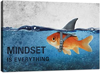 Inspirational Canvas Wall Art Quotes Abstract Blue Goldfish Shark Pictures Posters Painting on Canvas Motivational Entrepreneur Artwork Bathroom Bedroom Office Decor Framed Ready to Hang - 12