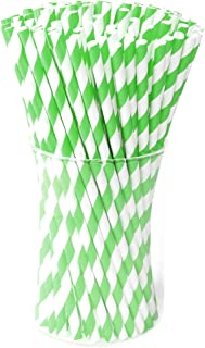 Green Paper Drink Straws Biodegradable - Value Pack 100 Pcs Eco-frendly Straws Bulk for Party Supplies | Birthday | Wedding | Bridal | Baby Shower | DIY Idea (Green)
