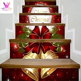 GXOK 6Pcs/Set 3D Christmas Decoration Stair Stickers Christmas Stairs Stickers Wall Stickers Christmas Staircase Stair Riser Floor Sticker DIY Wall Decal Stairs Decal