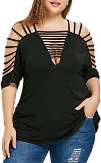 DADKA Fashion Womens Shirts Sexy Hollow Out V-Neck Cut Out Strappy T-Shirt Tops Blouse