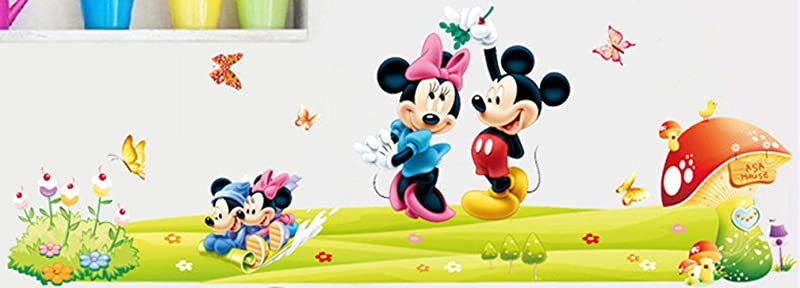 Wall Sticker Decal Mickey And Minnie Mouse Mashroom Butterfly And Flowers Kids Room Decor Mural Nursery Daycare And Kindergarten DIY Self Adhesive Removable