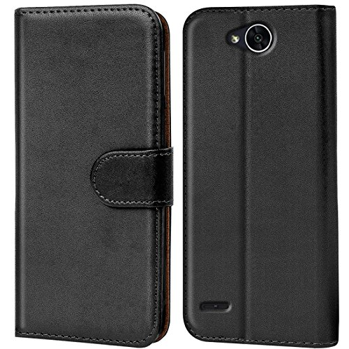 Conie Handyhülle für LG X Power 2 Hülle, Premium PU Leder Flip Hülle Booklet Cover Weiches Innenfutter für X Power 2 Tasche, Schwarz