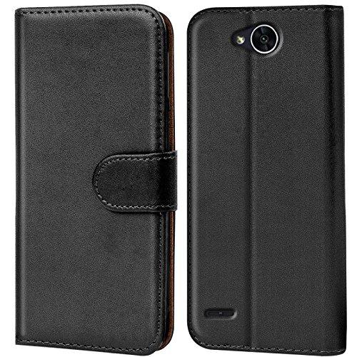 Verco X Power 2 Hülle, Handyhülle für LG X Power 2 Tasche PU Leder Flip Hülle Brieftasche - Schwarz