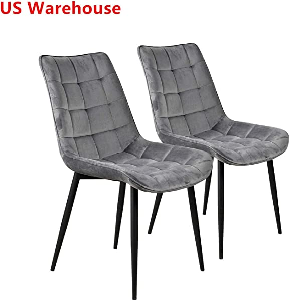 Modern Dining Chair Set Of 2 Metal Legs Velvet Cushion Seat And Back For Dining Living And Waiting Room Chairs Grey
