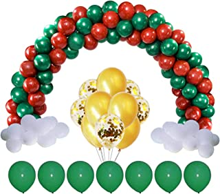 YAWOOYA 156Pcs Christmas Garland Kit Decoration Balloons Latex Dark Green Confetti Gold Xmas Red Balloon for Arch