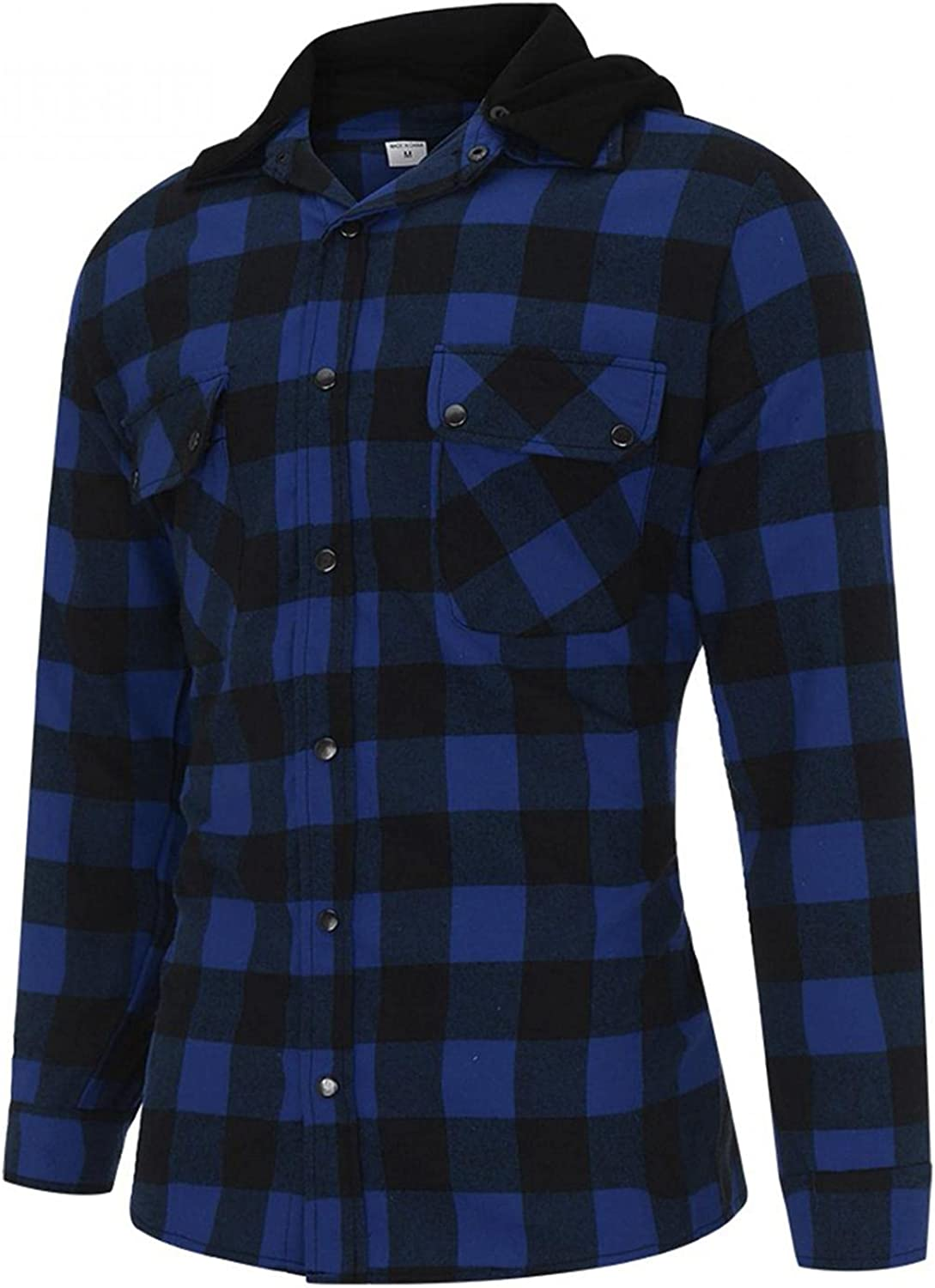 LEIYAN Mens Casual Fleece Hooded Shirts Long Sleeve Slim Fit Flannel Plaid Hoodie Pullover with Pockets