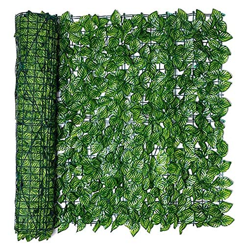 ISAKEN Simulation Wooden Fence, Artificial Hedge Plants Hanging Panels Decorative, Privacy Net Grille Barrier, Garden Trellis Expanding Wooden with Leaves, Watermelon leaf 0.5 * 3m