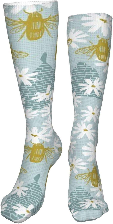 Bees Women Premium High Socks, Stocking High Leg Warmer Sockings Crew Sock For Daily And Work