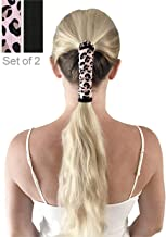Ponytail Wrap - Fitness Elastic Long Hair Glove - Workout Pony Tail Protector for Sports, Gym, Yoga, Running, Biker, Dreadlocks (Leopard/Black)