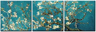 Canvas Print Wall Art 16x16inchx3 Painting for Home Decor Vincent Van Gogh's Painting Branches of an Almond Tree in Blossom 1890-The Van Gogh Classic Arts Stretched and Framed Artwork for Living Room