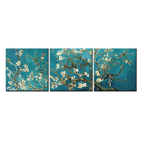 3 Pieces Canvas Print Wall Art Painting Pictures for Home Decor Branches of an Almond Tree in Blossom Vincent Van Gogh Painting Arts Classic Reproduction The Modern Classic Picture Artwork Decoration
