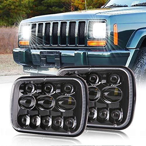 DOT Rectangular 5x7 7x6 Inch Led Headlights with High Low Beam H6054 6054 Led Headlight for Jeep Wrangler YJ Cherokee XJ Comanche MJ GMC Savana Toyota Replacement H5054 H6054LL 69822 6052 6053 (2 PCS)