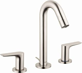 hansgrohe Logis Modern 2-Handle 9-inch Tall Bathroom Sink Faucet in Brushed Nickel, 71533821