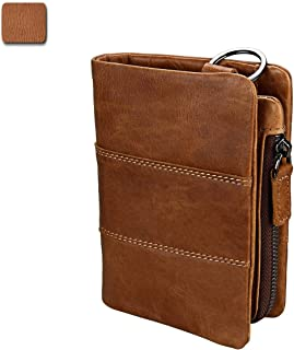 Men's Wallet RFID Fashion Trend Casual Leather Wallet First Layer Leather Coin Pocket Retro Crazy Horse Skin (Color : Brown, Size : S)