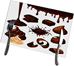 bneegxg Kitchen Table Mats Set of 6 Cartoon Chocolate Elements Blot Drop Whipped Cream Shavings Candies Pieces Nut Stain Resistant Table Mats
