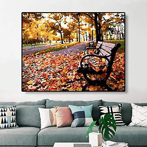 DIY Schilderen op nummer Handgeschilderde herfstwind bladverliezende rieten stoel frameloos schilderij40x50cm