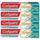 Colgate Total Whitening Toothpaste, Advanced Fresh + Whitening Gel - 5.1 Ounce (4 Pack)