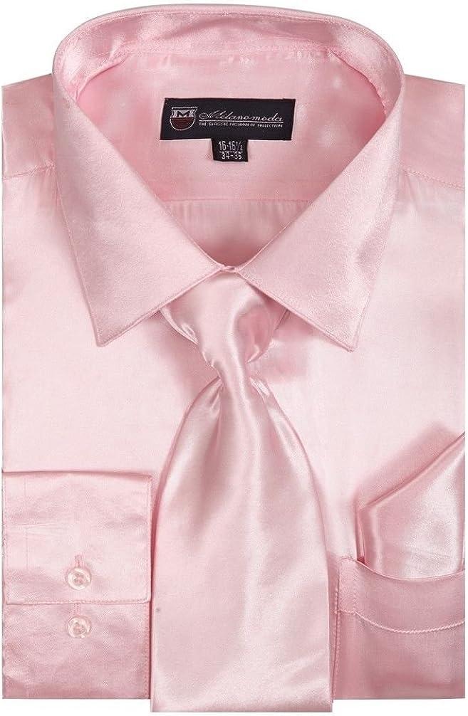 Milano Moda Men's Dress Shirt with Tie/Handkerchief HLSG08 New York Brand